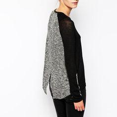 73d19169f8f6c New mulheres malha elegante duas cores costura malha de manga comprida  camisola Sexy transparente pontas duplas de CM005 em Pullovers de Das  mulheres Roupas ...