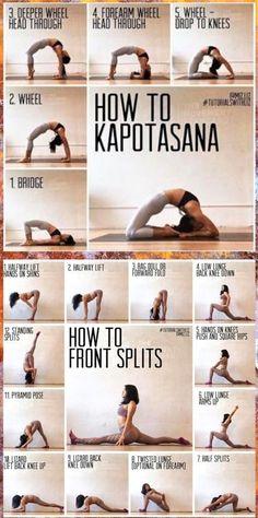 Yoga: Kapotasana et parties avant Gym Workout For Beginners, Gym Workout Tips, Fitness Workout For Women, Fitness Workouts, Yoga For Beginners, Yoga Fitness, Gymnastics For Beginners, Gymnastics Videos, Dancer Workout