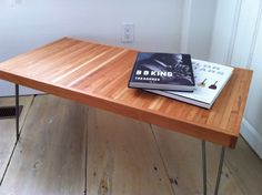 Modern industrial, mid century modern, contemporary coffee table featuring solid American cherry top and hairpin legs. $265.00, via Etsy.