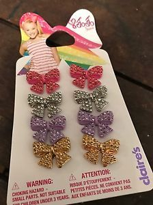 Jojo Siwa Claires Exclusive Rhinestone Pierced Earrings Bows Bow 4 Pairs Jewelry  | eBay