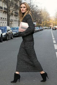 Olivia Palermo wearing Tabitha Simmons Harmony Boots, Pringle of Scotland Pre-Fall 2016 Cotton Merino Wool Rib Knit Pullover, Pringle of Scotland Rib Knit Cotton Wool Skirt and VBH Pulce Xl Leather Crossbody Bag