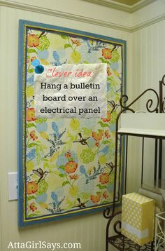 how to hide an electrical panel box for the home how to make fabric bulletin boards