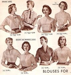 Fab fifties blouses (I need one of each ;) )