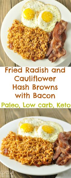 Fried Radish and Cauliflower Hash Browns with Bacon - Low Carb, Keto, Paleo via @PeaceLoveLoCarb