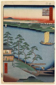 Hiroshige - One Hundred Famous Views of Edo Autumn 93 Niijuku Ferry (にい宿のわたし Niijuku no watashi?)Nakagawa RiverNortheasternmost scene of the series confirmed by detailed depiction of the Edo side of the river and vagueness on the opposite bank1857 / 2Niijuku, Katsushika