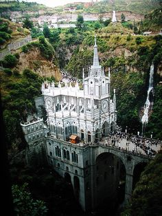 Santuario de las Lajas, Basilica Church, was built in a Gothic Revival style inside the Canyon of the Guaitara River located in Colombia, South America.