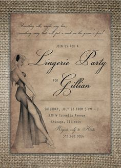 Bachelorette Party Invitation  Lingerie Party by BrownDogPress, $18.00
