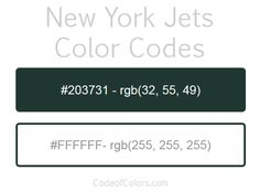 Team Colors of the NY Jets. Hexadecimal and RGB Codes for the New York Jets Logo. Hex and RGB Color Palette Schemes for the New York Jets Jerseys. What colors are the New York Jets?