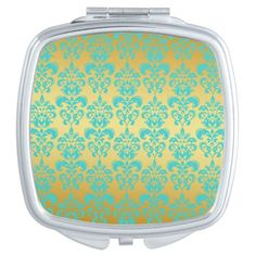 Gold, Aqua Blue Damask Pattern 2
