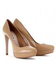 The perfect leg-lengthening #Miu Miu nude platform pumps. Want some nude heels so bad.
