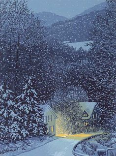 This is my ideal winterscape: a warm shelter in falling snow at the edge of the forest. Illustration by William Hays linocut Winter Szenen, Winter Trees, Winter Night, Snow Scenes, Linocut Prints, Nocturne, Printmaking, Scenery, Illustration Art