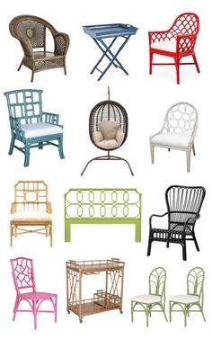 Most outdoor wicker furniture is made from rattan, the most common plant stem used in wicker manufacturing. Painting Wicker Furniture, Cane Furniture, Bamboo Furniture, Painted Furniture, Outdoor Furniture Sets, Furniture Design, Office Furniture, Wicker Chairs, Room Chairs