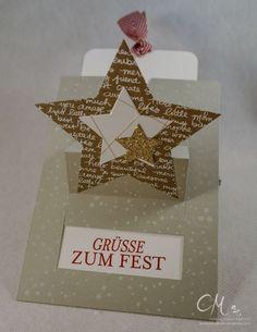 Weihnachtliche Ziehkarte mit Sternen, Stampin' Up! #CarosBastelbude