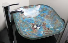 Glass Sinks: Functional Art to Brighten Your Home Glass Bathroom Sink, Glass Vessel, Decor, Porcelain Painting, Glass, Contemporary Glass, Blue Ocean, Glass Vessel Sinks, Bathroom Restoration