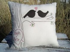 The Crush. Large Personalized Love Bird Pillow with Faux...