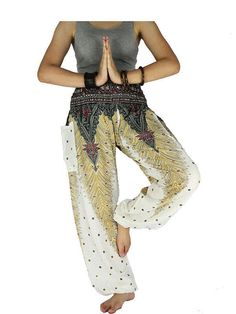 Peacxock pants Unisex pants Hippie clothes by LaOngDaoShop on Etsy