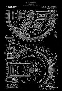 1912 - Mechanical Gears - A. I. Hovland - Patent Art Poster