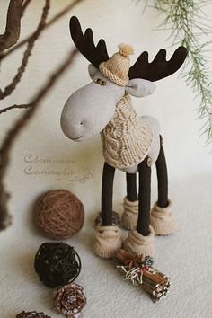 14 Easy & Creative Crafts Ideas With Old SocksFabric moose with knit hat, sweater and boots, I could make a clay ornament!every nisse needs his own – shop online on Livemaster with s - buy or order in an online shop on Livemaster - Sochi Christmas Moose, Christmas Sewing, Handmade Christmas, Christmas Time, Moose Crafts, Reindeer Craft, Holiday Crafts, Creative Crafts, Diy And Crafts