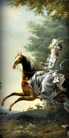 "Marie Antoinette's mother gives some advice in a letter: ""You were quite right in thinking I should not approve your riding at fifteen; Mesdames, (Louis XVI's aunts) whom you quote, did not ride till thirty...    Detail from Marie Antoinette and her husband hunting. 1783, by Louis-Auguste Brun."