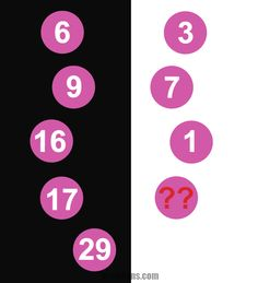 Brain teaser - Picture Logic Puzzle - math lesson for smart people - Find the number which replaces the questionmark. There is a pattern between the numbers in circles, can you see it? Use your math skills to solve this brain teaser.