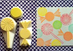candy hand carved rubber stamp. handmade rubber stamp. sweets/lolly/candy. set of 3. $9,00, via Etsy.