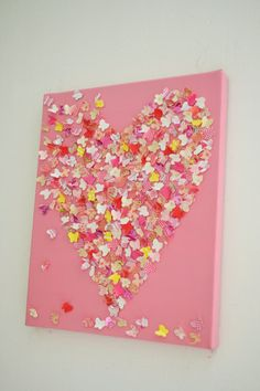 Pretty in Pink - 3D Butterfly Wall Art / Pink Butterfly Heart / Baby Girl Nursery Art / Unique Baby Shower Gift / Girls Room / MADE TO ORDER. $55.00, via Etsy.//