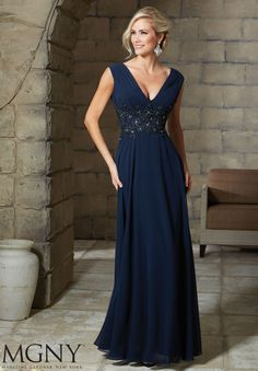 Evening Gowns and Mother of the Bride Dresses by MGNY Chiffon with Embroidered and Beaded Appliques Matching Stole. Available in Eggplant, Navy, Champagne, Blush