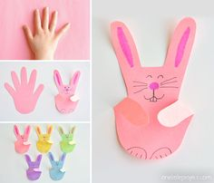 These handprint bunnies are SO CUTE and they're so easy to make! Such a fun construction paper kids craft for Easter (or anytime). You only need 3 things! Easy Easter Crafts, Easter Art, Bunny Crafts, Easy Crafts For Kids, Toddler Crafts, Preschool Crafts, Felt Crafts, Peacock Crafts, Paper Bunny