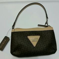 **FIRM PRICE **Guess Wristlet Two-toned brown,  brand new, listing price is firm Guess Bags Clutches & Wristlets