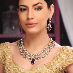 NEC/1/3402 Maha Necklace Set with Earrings in silver victorian finish studded with cubic zircons, ruby, kundan and pearls  $488 £288