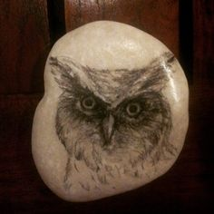 "RM 10 L'p - owl 01 3"" x 2.5"" charcoal/ pencil drawing on stone"