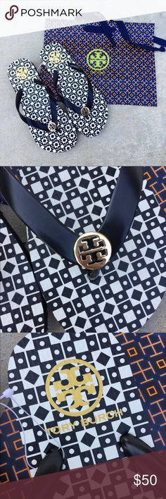 {Tory Burch} Diamond Flip-flops Brand new, never been worn. Please know/be familiar with your own Tory Burch sizing, these don't come in half size. I'll ship them with a Tory Burch shopping bag. Price is firm, unless bundled. No TRADES! Tory Burch Shoes Sandals