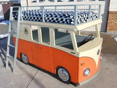 Why do kids get all the cool loft beds? This VW bus serves as a delightful playhouse and there's a cozy nest on top, when the driver needs to settle down for some sleep.