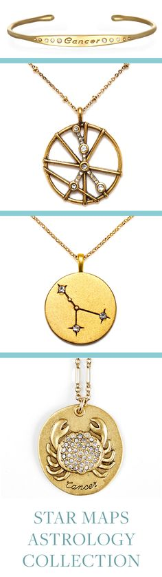 Cancer Astrology Jewelry! Sequin's Star Maps Collection illustrates the twelve astrological signs with beautifully detailed interpretations of constellations and zodiac symbols. Each is 22K antique gold- rose-gold or silver-dipped and cast from an original Sequin illustration. Designed & handcrafted in the USA with components from around the world.