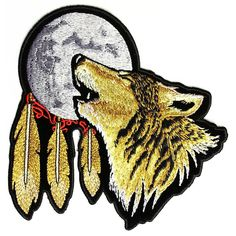 Roses Ladies Native American Indian Wolf Feathers Embroidered Patch FREE SHIP