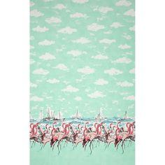 AmazonSmile: Michaell Miller Flamingo Border Seafoam Fabric By The Yard