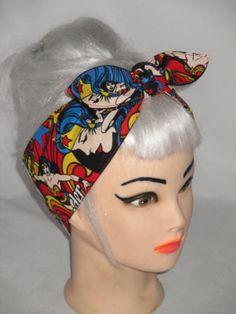 Headband WONDER WOMAN COMICS  Pinup Girls Power by 3DROPSOFPOISON