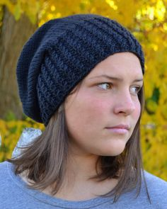 Knit Slouch Beanie Mock Cable Brim Hat Hand Knit in Black by Gone2Pieces #Slouch #Beanie #Black