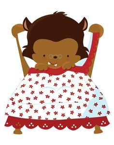 Conoce a los principales personajes del cuento infantil de Caperucita Roja. La abuelita, el lobo feroz, el cazador y la propia Caperucita.