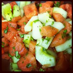 Watermelon, Basil & Cucumber Salad. Drooling.