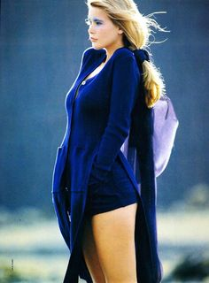 Something cozy and blue on a girl with a body. Photo by Hans Feurer, 1989. Claudia Schiffer