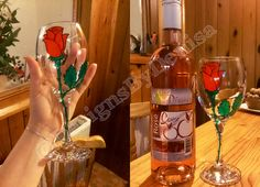 Hand Painted Wine Glass Red Rose Perfect by DesignsByDenisa