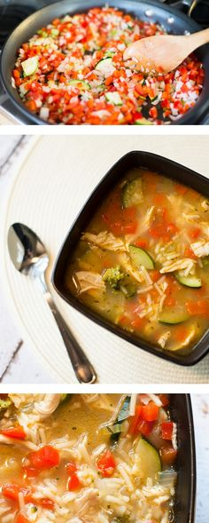 Chicken Rice Vegetable Soup - Rice, veggies and chicken make up this warm and hearty soup - the flavor is a real winner!
