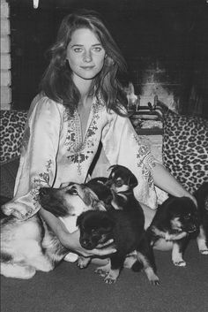 Charlotte Rampling with dogs