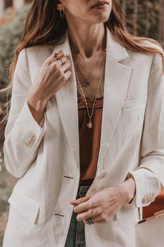 Everlane Oversized Linen Blazer with Mejuri Necklace featuring Ethical Fashion Brands. Blazer And Shorts, Blazer Outfits, Jean Outfits, Outfit Jeans, Gingham Pants, Summer Shorts Outfits, Ethical Fashion Brands, Oversized Blazer, Linen Blazer