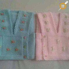 Kız Bebek Yelek Modelleri - Minik Prenseslere 40 Adet Kız Bebek Yelekleri Baby Knitting Patterns, Knitting For Kids, Baby Patterns, Cardigan Bebe, Baby Cardigan, Baby Girl Vest, Baby Baby, Baby Girls, Diy Crafts Knitting