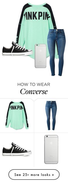 """""""Untitled #74"""" by khaelynn on Polyvore featuring Victoria's Secret PINK, Frame Denim, Converse and Native Union"""