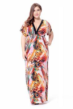 aa7b78adbc Women Summer Dress Stretch High Waist Beach Bohemian Floral Dress Maxi Robe  Sexy Deep V Neck 2017 Plus Size Dress 6XL Vestidos-in Dresses from Women s  ...