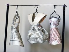 Paper dresses made from book pages