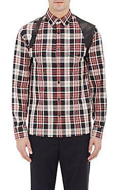 Harness-Appliquéd Flannel Shirt